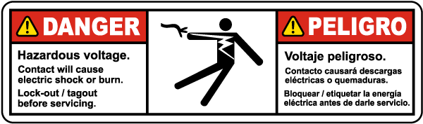 Bilingual Hazardous Voltage Contact Will Cause Electric Shock Label