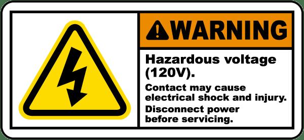 Hazardous Voltage 120V Label
