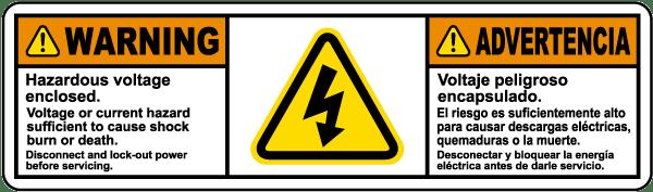 Bilingual Hazardous Voltage Enclosed Disconnect and Lock Out Power Label