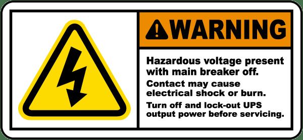Hazardous Voltage Present Label