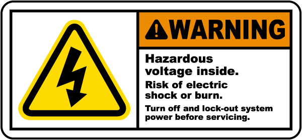 Warning Hazardous voltage inside Risk of electric shock.. Label