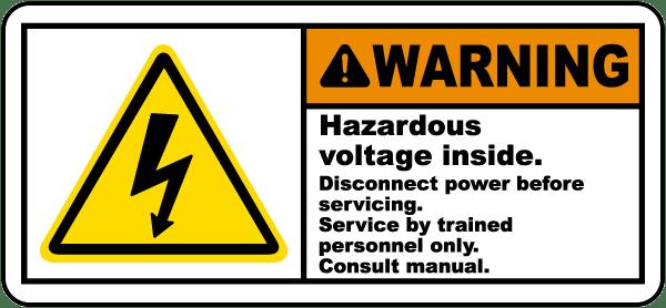Hazardous Voltage Disconnect Label