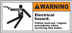 Warning Electrical hazard Follow lock-out tagout procedures when servicing this boiler label