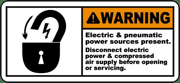 Electric & Pneumatic Sources Label