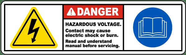 Hazardous Voltage Read Manual Label