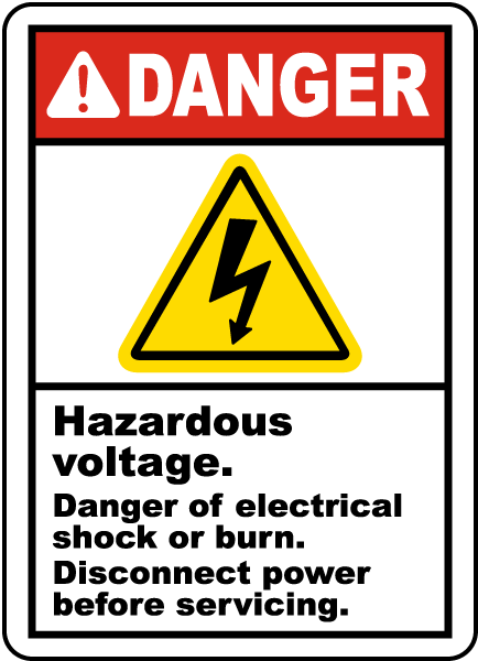Danger Hazardous voltage. Danger of electrical shock or burn. Disconnect power before servicing label