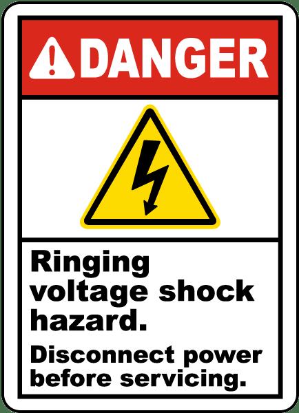 Ringing Voltage Shock Hazard Label