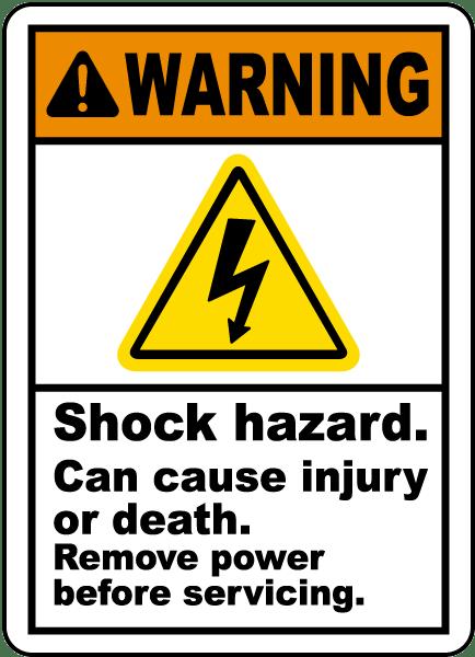 Shock Hazard Can Cause Injury Label