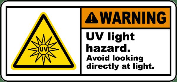 UV Light Hazard Avoid Looking Label