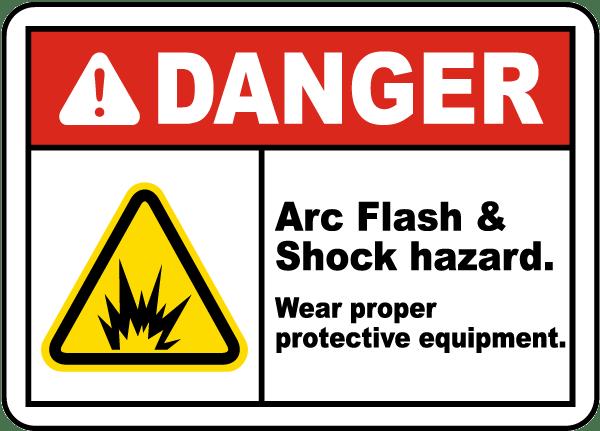 Danger arc flash shock hazard label j5516 by for Danger arc flash labels