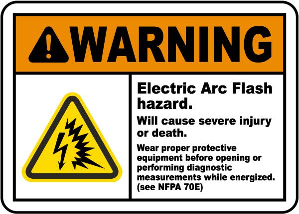 Warning Electric Arc Flash Hazard Label
