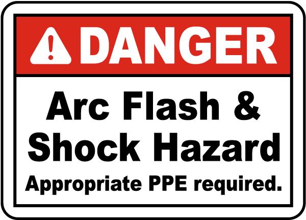Danger arc flash shock hazard label j5524 by for Danger arc flash labels