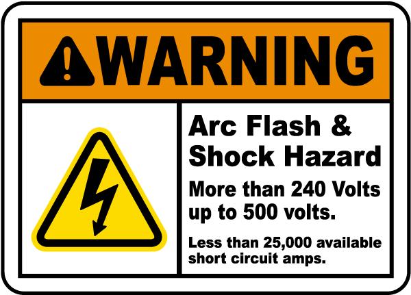 Shock Hazard 240 Volts to 500 Label