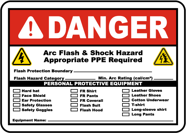 Arc flash label-Danger Arc flash & Shock Hazard. Appropriate PPE Required. Flash Protection Boundary.Flash Hazard Category.Min. Arc Rating (cal/cm2).