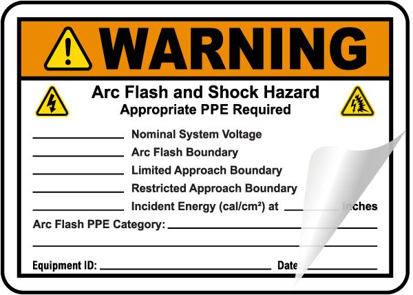 Write-On Warning Arc Flash and Shock Hazard Label