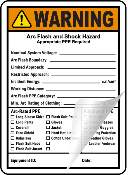 Write-On NFPA 70E Arc Flash & PPE Warning Label