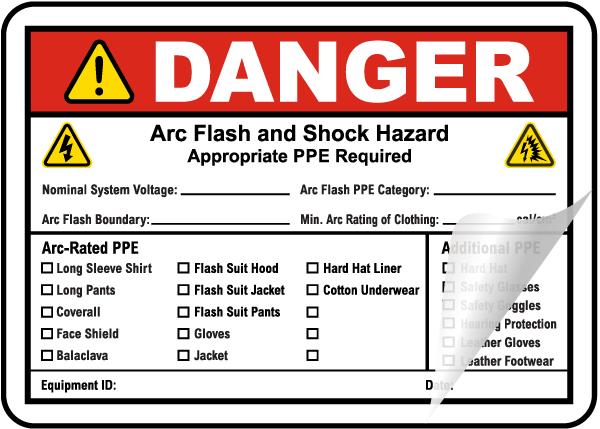 Warning Arc Flash & Shock Hazard Label