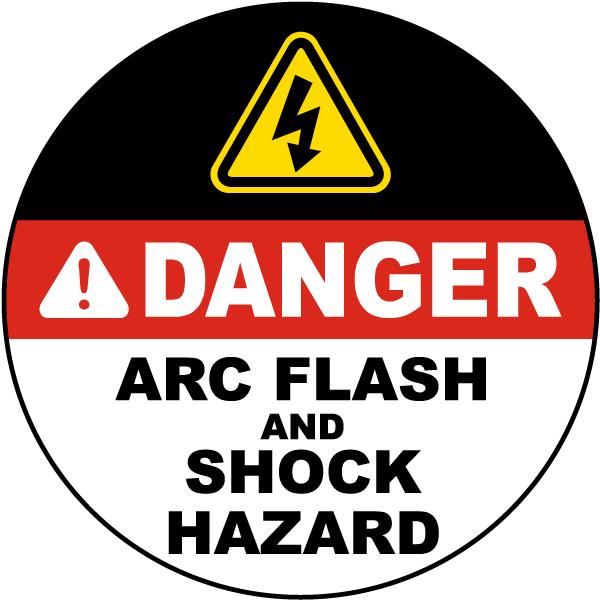 Arc flash and shock hazard circular floor label j5555 for Floor labels