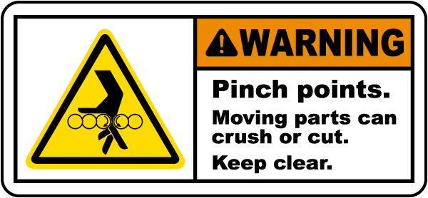 Pinch Points Keep Clear Label
