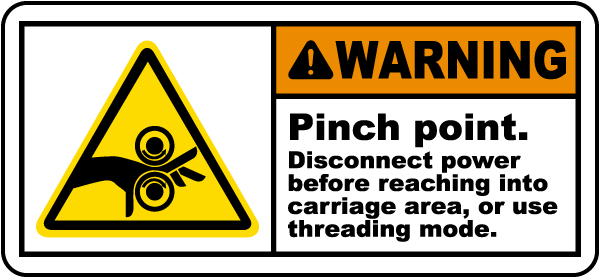 Warning Pinch Point Disconnect Label