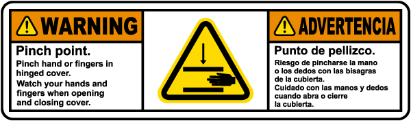 Bilingual Pinch Point Watch Your Hands Label