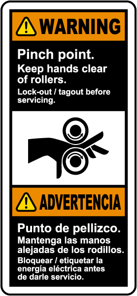 Bilingual Pinch Point Keep Hands Clear of Rollers Label
