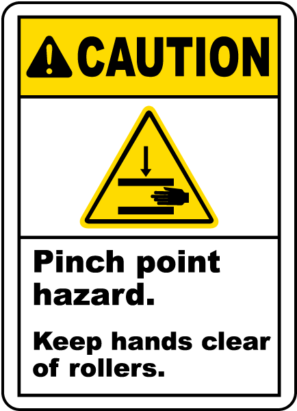 Warning Pinch point hazard Keep hands clear of rollers label