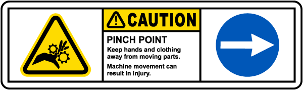 Caution Pinch Point Right Arrow Label