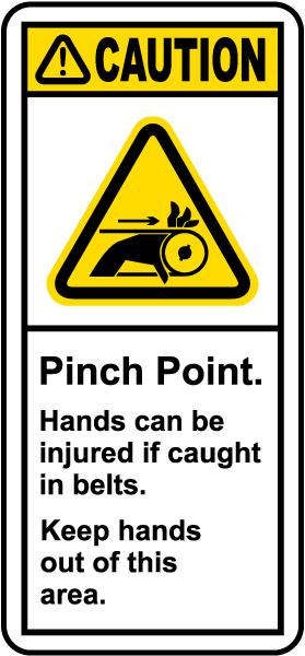 Caution Pinch Point Label