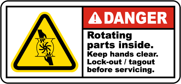 Rotating Parts Inside Lock-Out Label