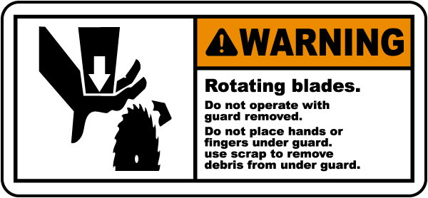 Warning Rotating Blades Label