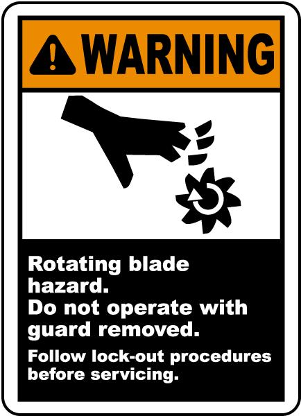 Warning Rotating Blade Hazard Label