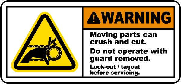 Warning Moving parts can crush and cut Do not operate.. label