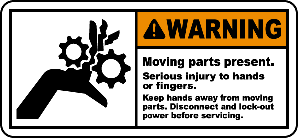 warning moving parts present label j6014 by safetysign com