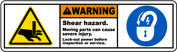 Shear Hazard Moving Parts Label