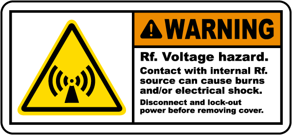 RF Voltage Hazard Disconnect Label