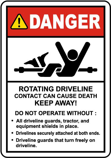 Rotating Driveline Label