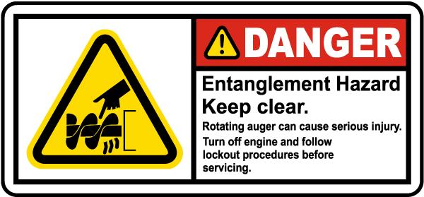 Rotating Auger Entanglement Hazard Label
