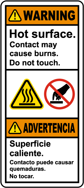 Bilingual Hot Surface Do Not Touch Label