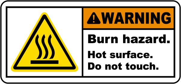 Burn Hazard Hot Surface Label