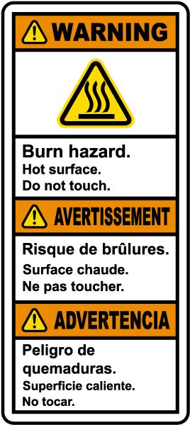 Multilingual Burn Hazard Hot Surface Label