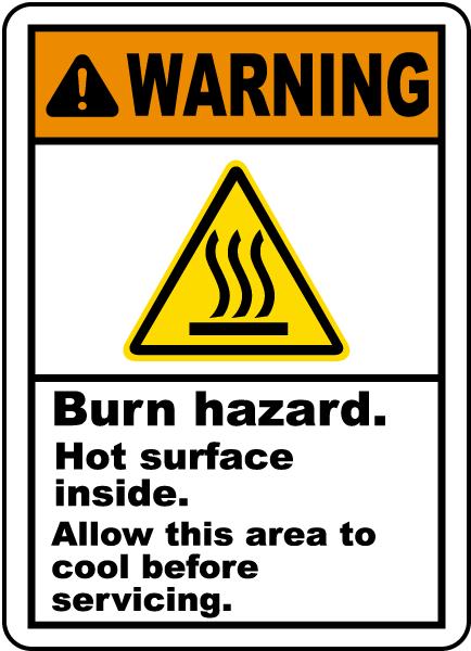 Burn Hazard Hot Surface Inside Label