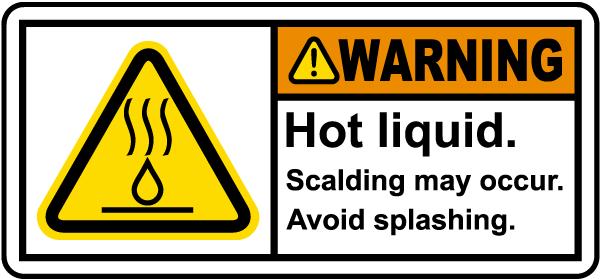 Warning Hot Liquid Label