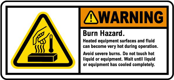 Burn Hazard Heated Equipment Label
