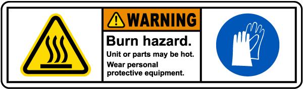 Burn Hazard Wear PPE Label