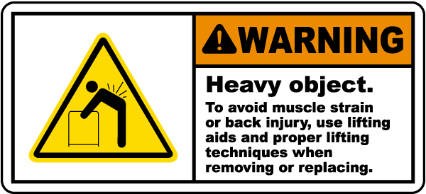 Heavy Object Use Lifting Aids Label