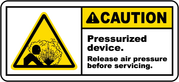 Pressurized Device Release Air Label