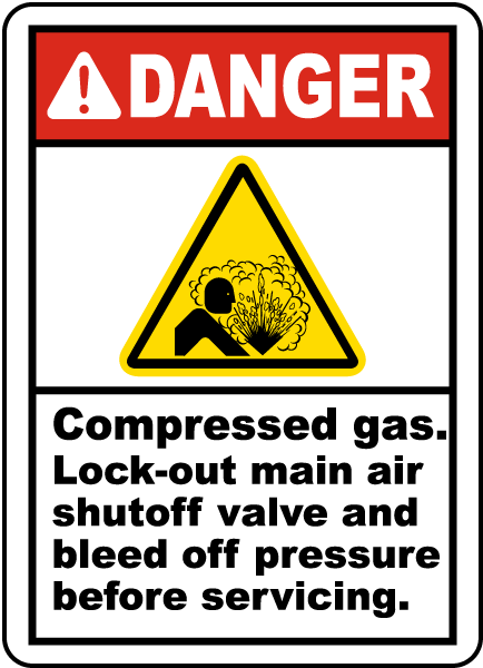 Compressed Gas Lock-out Label