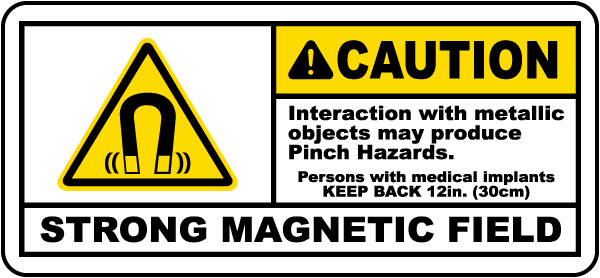 Caution Strong Magnetic Field Label