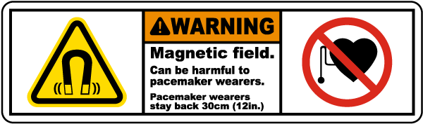 Warning Magnetic field Can be harmful to pacemakers wearers.. label